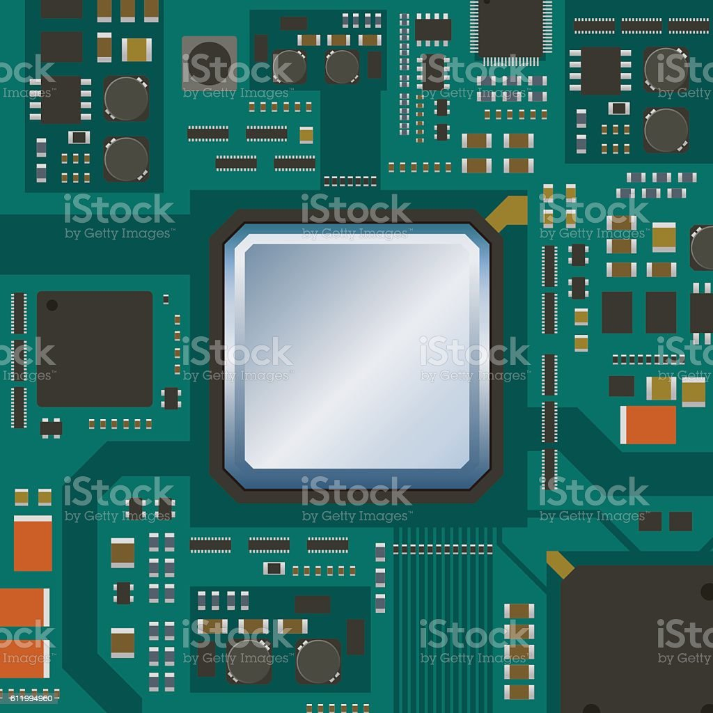 Electric Circuit Board Various Ic Chips And Electronic Components Of A Royalty Free