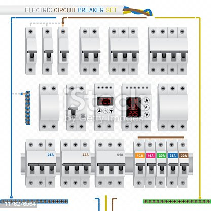 Electric circuit breaker switch box set on white transparent background. Electrician fuse protection designer constructor template, draw wiring diagram, leave necessary and delete unnecessary
