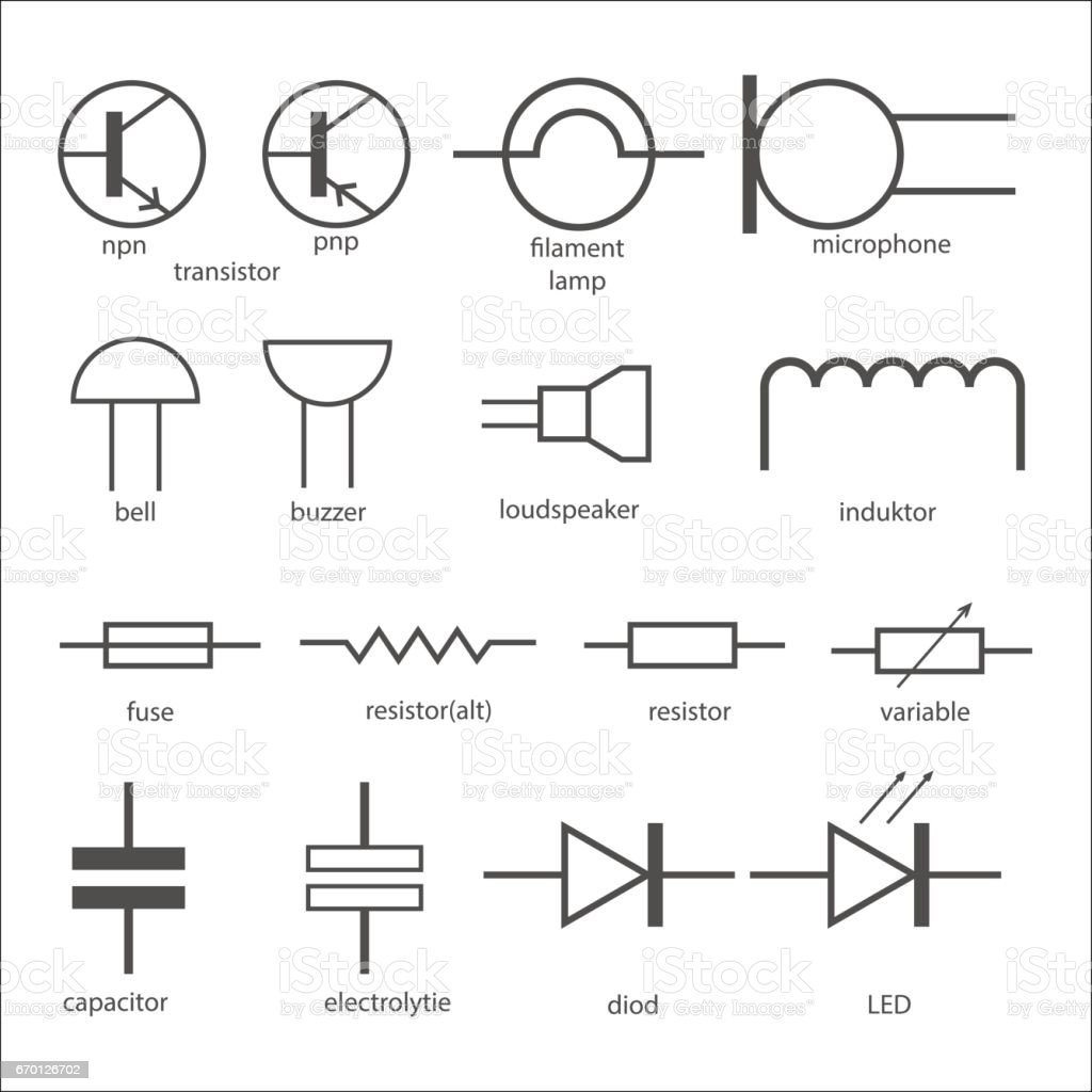 Electric Circuit Symbols Stock Vector Art & More Images of Business ...