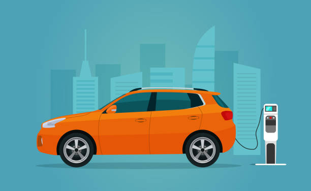 Electric compact CUV isolated. Electric car is charging, side view. Vector flat illustration. Vector flat style illustration. Electric compact CUV isolated. Electric car is charging, side view. Vector flat illustration. Vector flat style illustration. electric vehicle charging station stock illustrations
