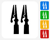 Electric Connectors Icon. This 100% royalty free vector illustration features the main icon pictured in black inside a white square. The alternative color options in blue, green, yellow and red are on the right of the icon and are arranged in a vertical column.
