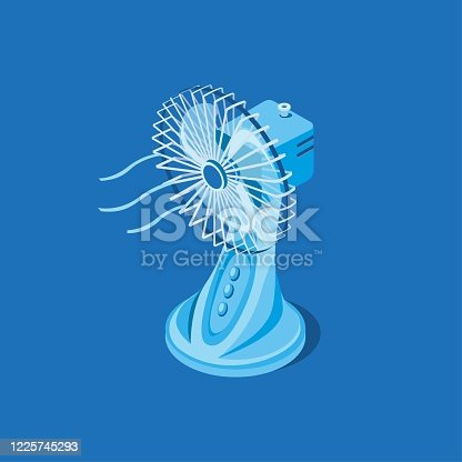 istock Electric desk fan in isometric illustration vector isolated in blue background 1225745293