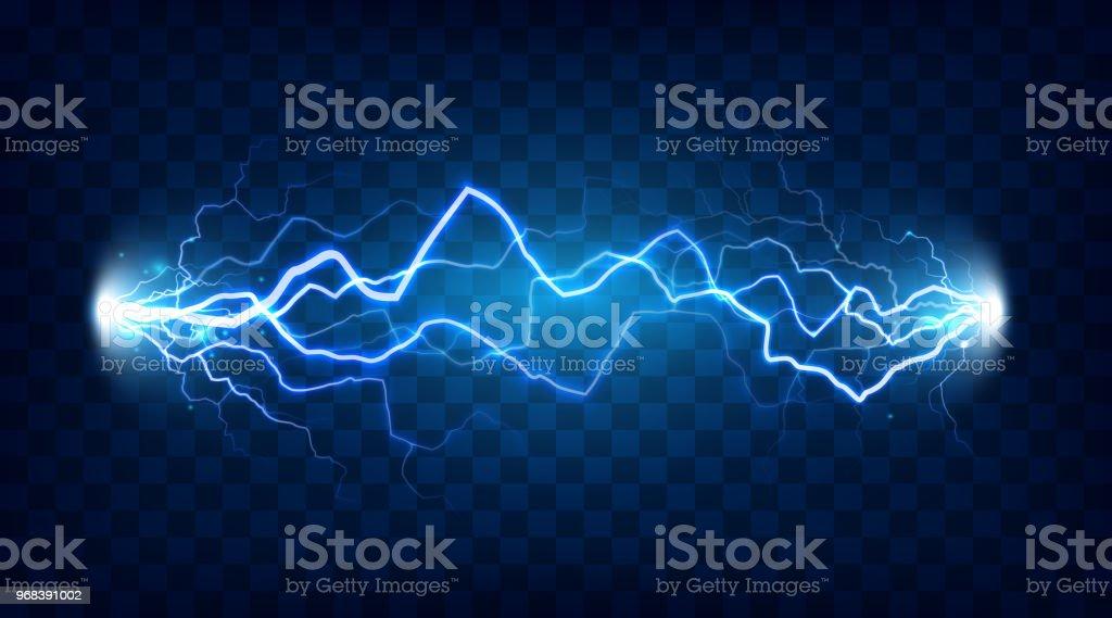 Elektrik deşarj şok etkisi tasarımı için. Güç elektrik enerjisi yıldırım ya da elektrik etkileri izole vektör - Royalty-free ABD Vector Art