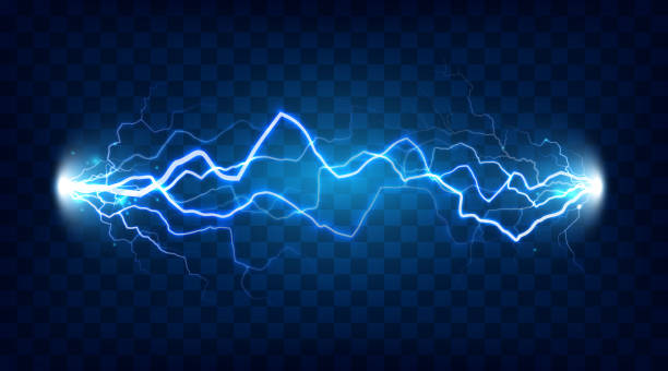 efekt porażenia prądem elektrycznym dla projektu. energia elektryczna błyskawica lub efekty elektryczne izolowany wektor - elektryczność stock illustrations