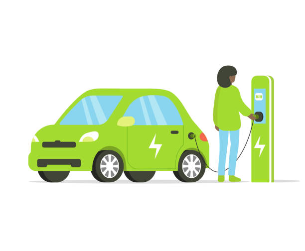 electric drive and afro woman Electric car flat illustration. Woman charging electric car on charging station. Vector illustration isolated on white background. hybrid car stock illustrations