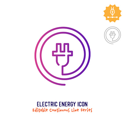 Electric Energy Continuous Line Editable Icon