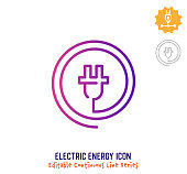istock Electric Energy Continuous Line Editable Icon 1249999551