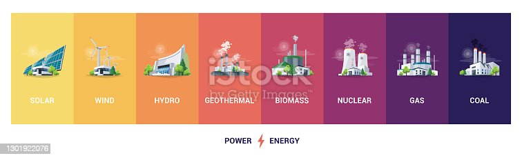 istock Electric energy power station generation types source types mix 1301922076
