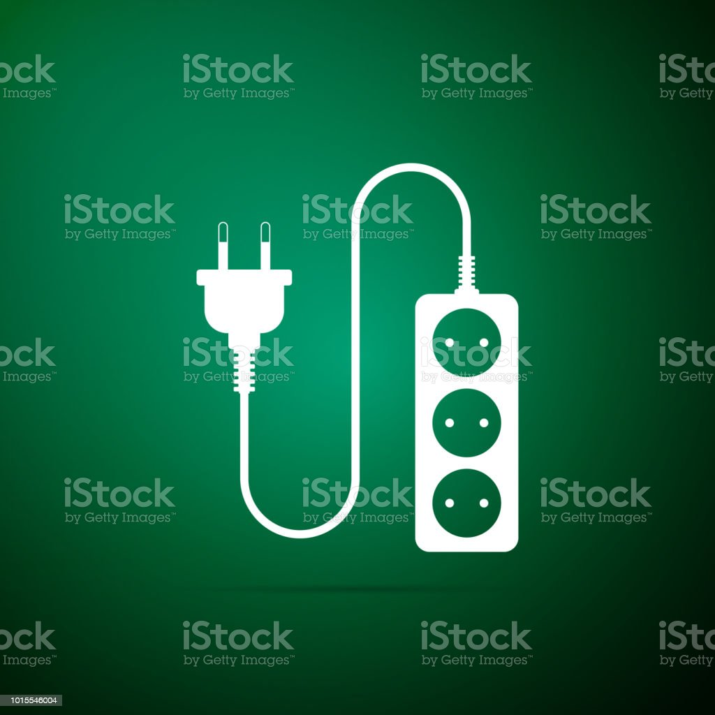 Electric extension cord icon isolated on green background. Power plug socket. Flat design. Vector Illustration vector art illustration