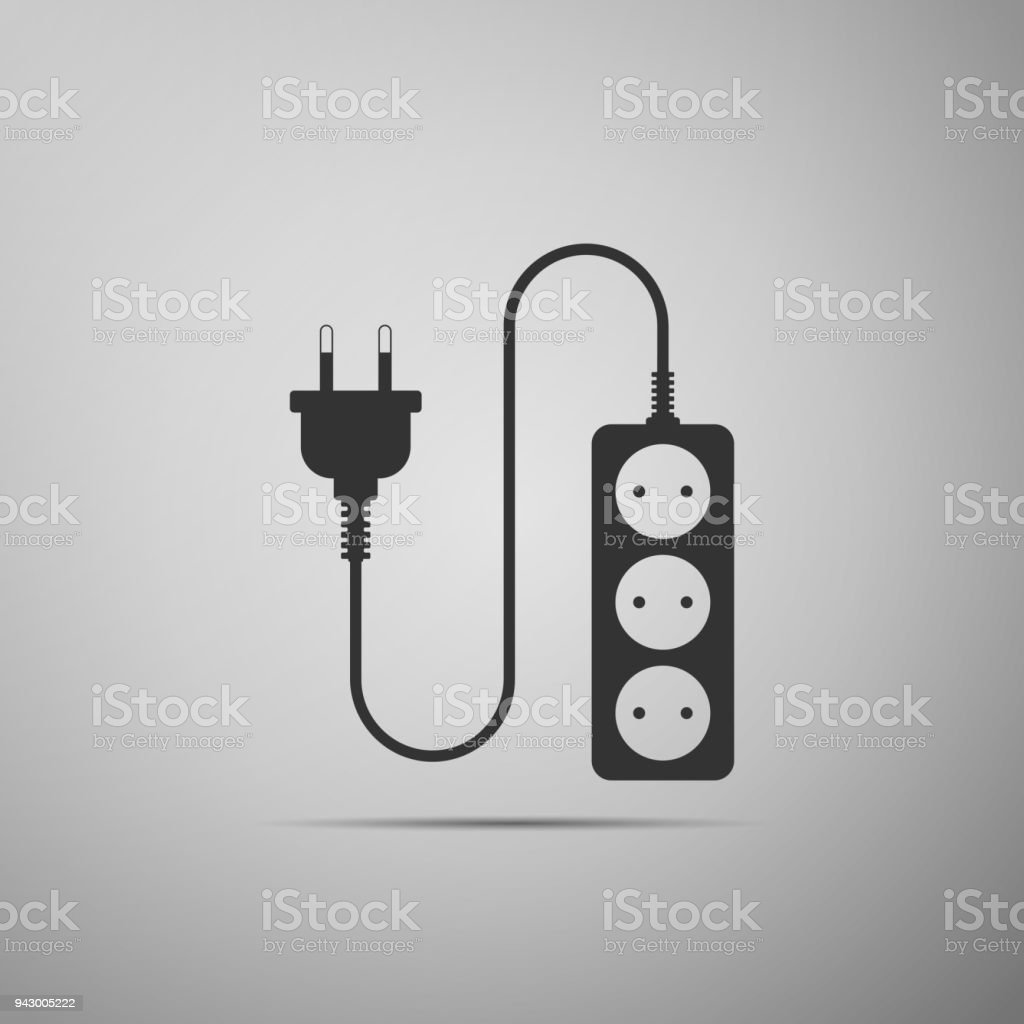 Electric Extension Cord Icon Isolated On Grey Background Power Plug ...