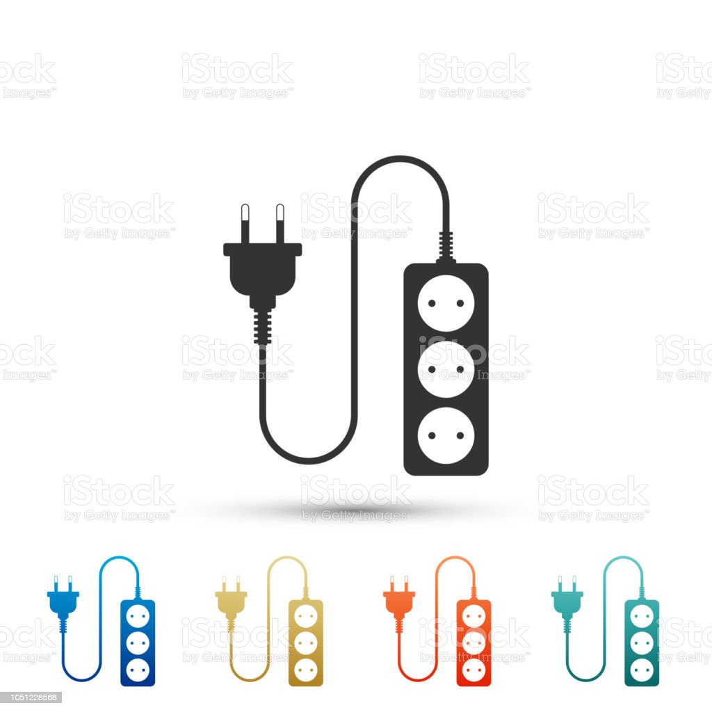 Electric extension cord icon isolated on white background. Power plug socket. Set elements in colored icons. Flat design. Vector Illustration vector art illustration