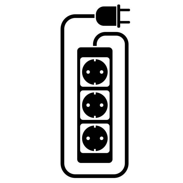 illustrations, cliparts, dessins animés et icônes de icône de câble d'extension électrique ou de câble d'extension avec bande de puissance - rallonge électrique