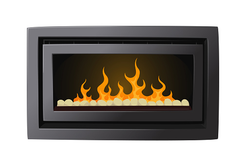 Electric Fireplace With Imitation of Burning Fire. Iron Metal Stove Isolated on White Background, Modern Heating System