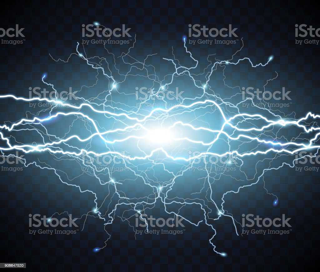 Electric flash of lightning. light thunder vector art illustration