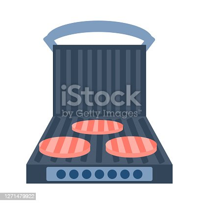 Electric grill a white background. Sandwich press  open and  with food. Equipment for the kitchen. Vector illustration in flat style. Kitchenware grill. Cartoon electric grill with cutlets