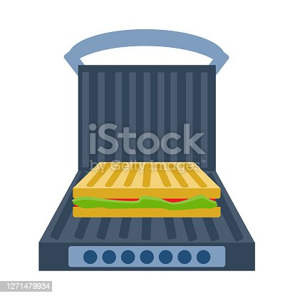 Electric grill a white background. Sandwich press  open and  with food. Equipment for the kitchen. Vector illustration in flat style. Kitchenware grill. Cartoon electric grill with sandwich