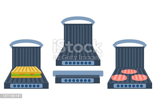 Electric grill a white background. Sandwich press  open, closed, empty and  with food. Equipment for the kitchen. Vector illustration in flat style. Kitchenware grill.