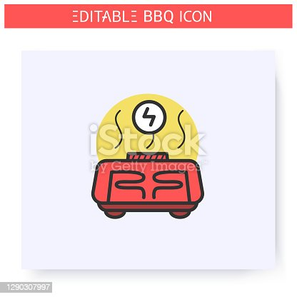 Electric grill color icon. Electric portable stove or barbecue. Backyard picnic concept. Barbecue party or summer camping. Touristic gas burner. Isolated vector illustration. Editable stroke