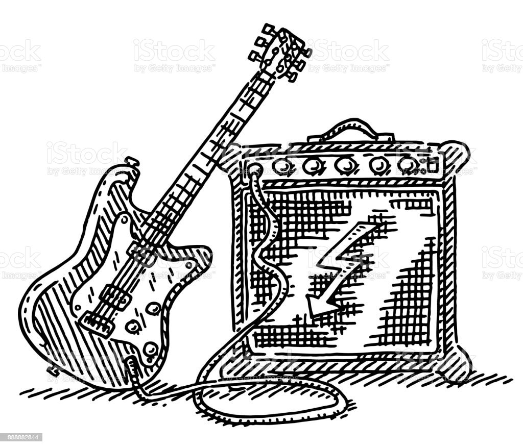 Electric Guitar And Amplifier Drawing Stock Vector Art & More Images ...