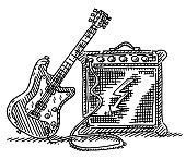 Hand-drawn vector drawing of an Electric Guitar And an Amplifier. Black-and-White sketch on a transparent background (.eps-file). Included files are EPS (v10) and Hi-Res JPG.