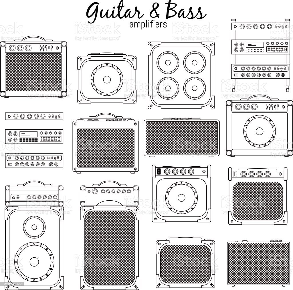Electric Guitar and Bass Amplifiers vector art illustration