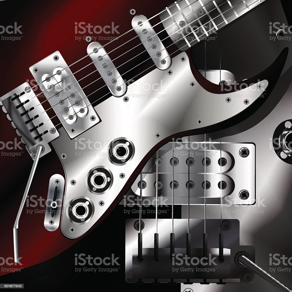 Electric Guitar Closeup In Dark Colors Stock Vector Art More