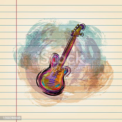 istock Electric guitar Drawing on Ruled Paper 1200285545