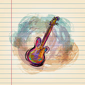 Drawing of Electric guitar in watercolour style on ruled paper. Elements are grouped.contains eps10 and high resolution jpeg.