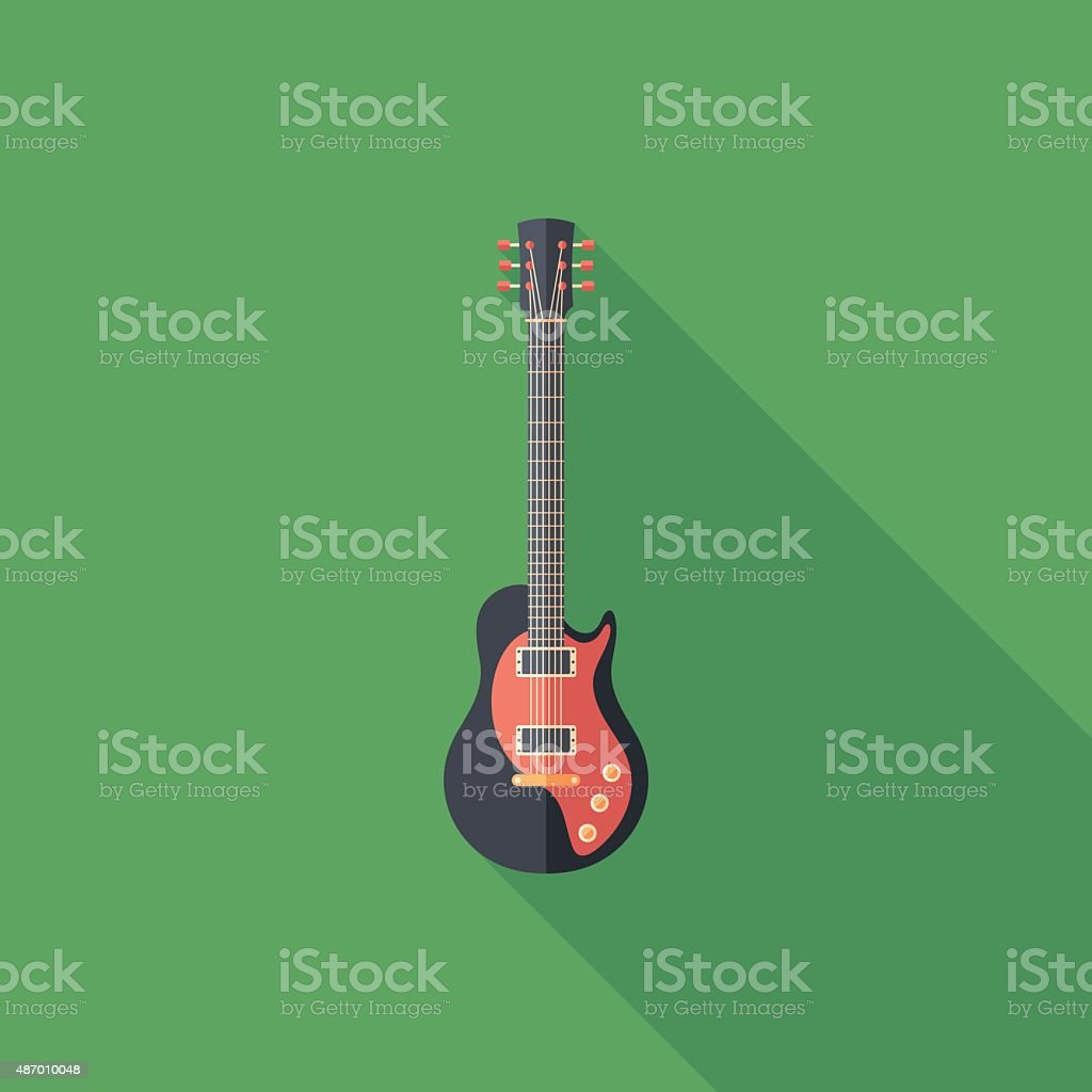 Electric guitar flat square icon with long shadows. vector art illustration