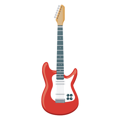 Electric Guitar Icon on Transparent Background