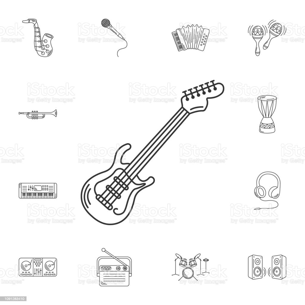 Vetores De Icone Da Guitarra Eletrica Ilustracao De Elemento