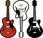 Guitar icon - one in color and two black and white versions.