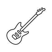 Electric guitar linear vector icon. Thin line
