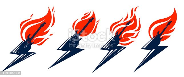 Electric guitar in a shape of lightning on fire, hot rock music in flames, Hard Rock or Rock and Roll concert or festival labels, night club live show band performance, vector logos set.