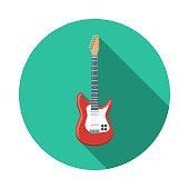 A flat design music icon with a long shadow. File is built in the CMYK color space for optimal printing. Color swatches are global so it's easy to change colors across the document.