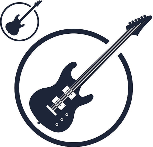 Electric guitar music icons isolated. vector art illustration