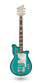 Electric guitar on a white background. Vector illustration in vintage style. For posters, cards, banners, backgrounds.