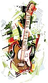 Image shows a electric guitar in sketchy art; vectorimage with only one layer, without opening shapes and gradients; big jpeg (350DPI); digital drawing with free wild style; fantasy drawing; better for white backgrounds
