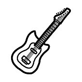 electric guitar / cartoon vector and illustration, black and white, hand drawn, sketch style, isolated on white background.