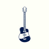 istock Electric guitar vintage hand drawn engraved sketch. Musical jazz classical stringed instrument isolated on white background. Vector illustration in old retro design etching 1323623533
