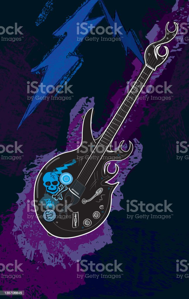 Electric guitar with lightning bolts vector art illustration