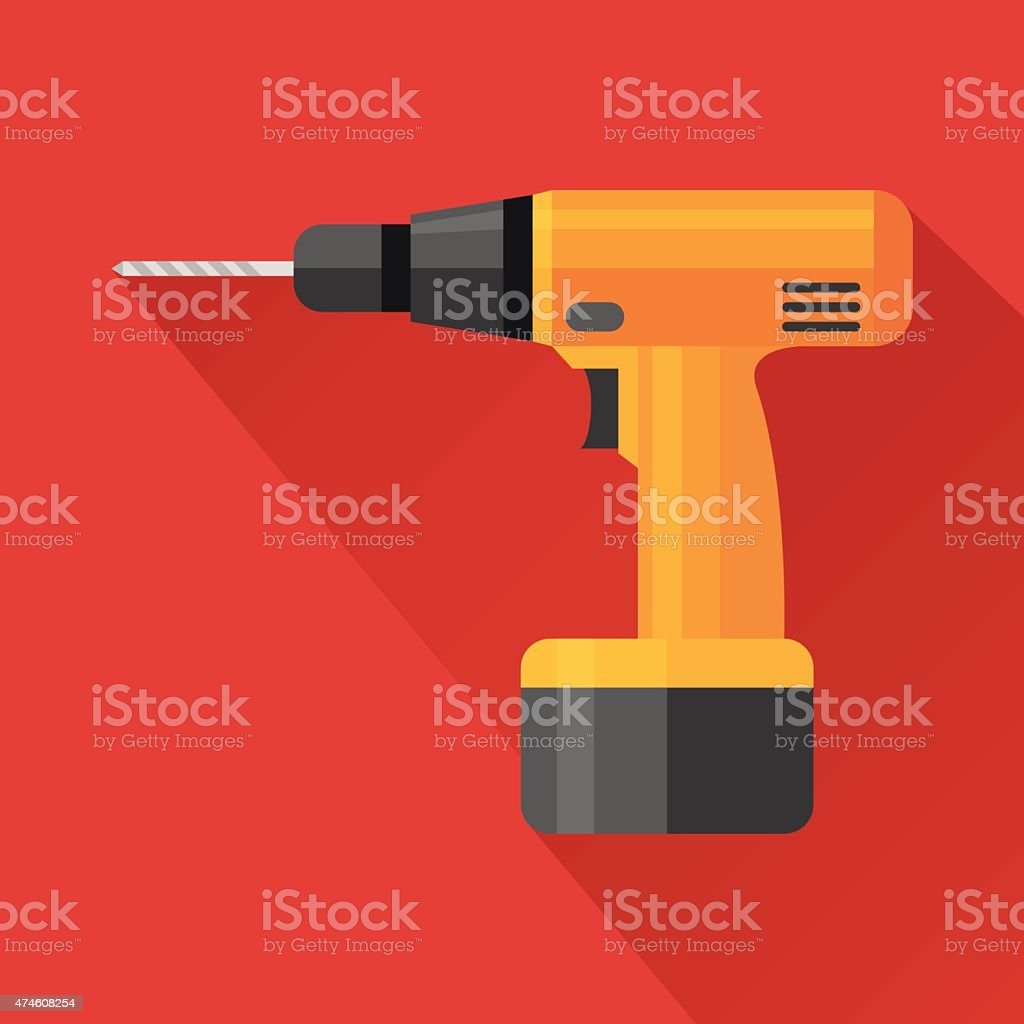 Electric hand drill flat icon vector art illustration
