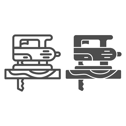 Electric hand jigsaw line and solid icon, house repair concept, machine saw sign on white background, Electric fretsaw with steel sharp blade icon in outline style. Vector graphics.
