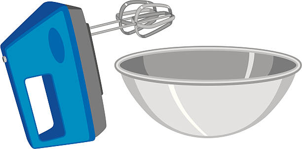 electric hand mixer and mixing bowl - mixing bowl stock illustrations, clip art, cartoons, & icons