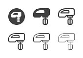 Electric Hand Mixer Icons Multi Series Vector EPS File.