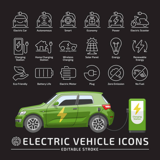 Electric hatchback city car vector mockup with charging station on a black background with electricity vehicle editable stroke thin line icon set. Electric hatchback city car vector mockup with charging station on a black background with electricity vehicle editable stroke thin line icon set. hybrid vehicle stock illustrations