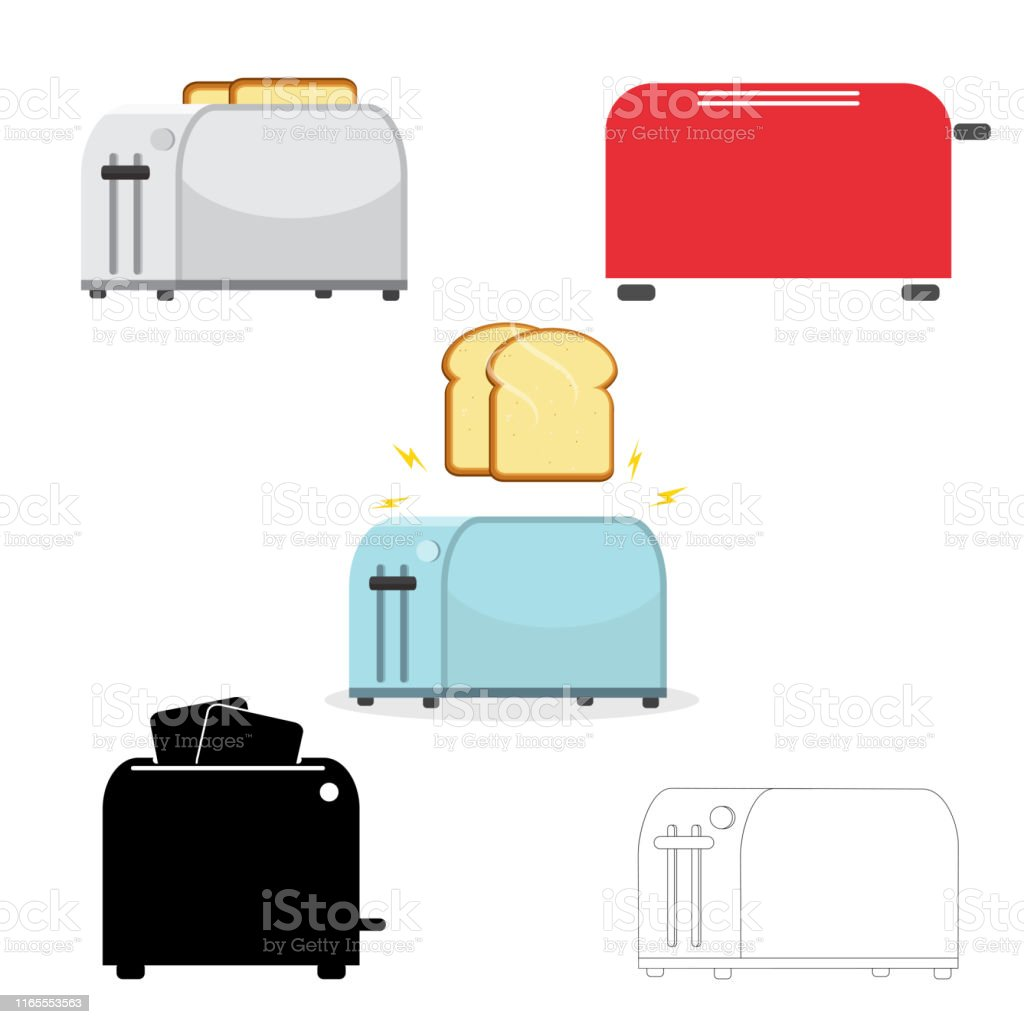 Electric household isolated equipment. Vector. Set of toasters. Illustration on white background. - Royalty-free Assado arte vetorial