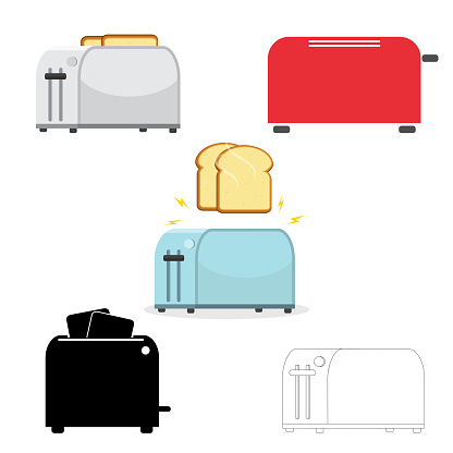 Electric Household Isolated Equipment Vector Set Of Toasters Illustration On White Background - Arte vetorial de stock e mais imagens de Assado
