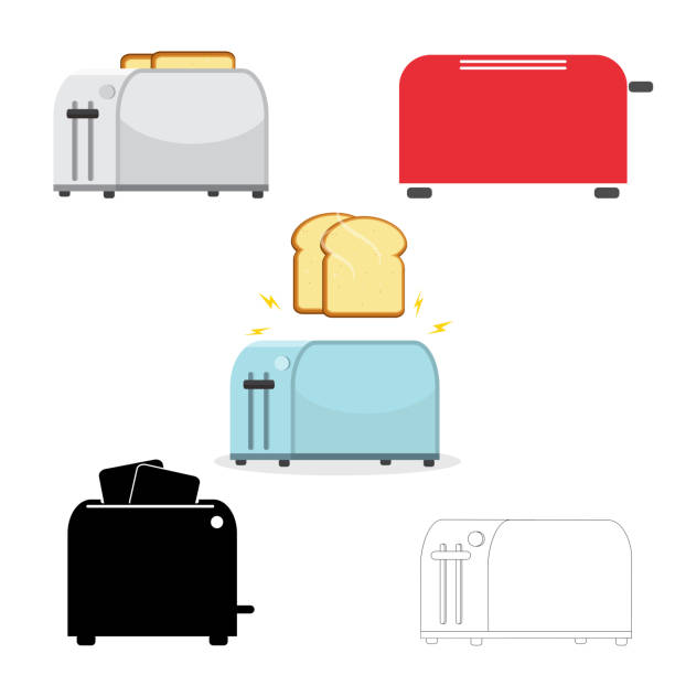 ilustrações de stock, clip art, desenhos animados e ícones de electric household isolated equipment. vector. set of toasters. illustration on white background. - burned cooking