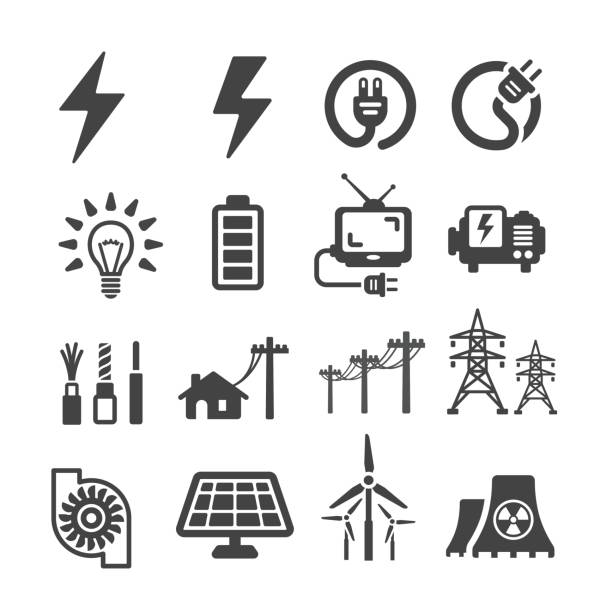 stockillustraties, clipart, cartoons en iconen met elektrische pictogram - hoogspanningsmast